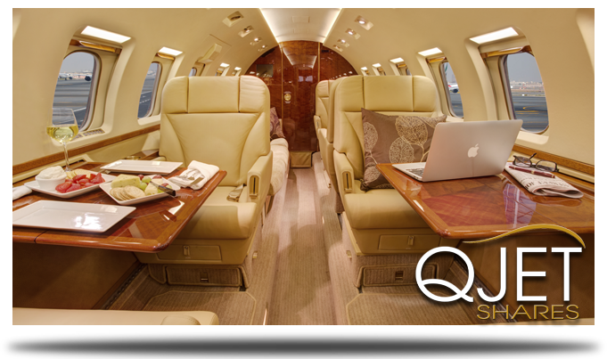 Q-Jet Shares - Fractional Private Jet Ownership - Aircraft Interior Cabin Photo